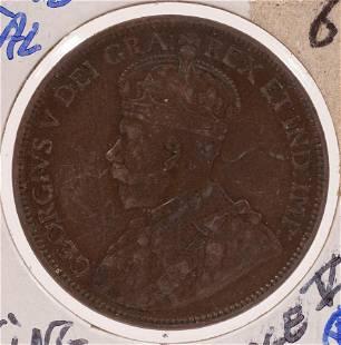 KING GEORGE V 1918 WORLD WAR I COPPER CANADIAN PENNY