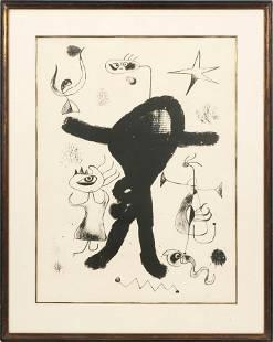 JOAN MIRO (SPANISH 1893-1983) LITHOGRAPH, ON WOVE