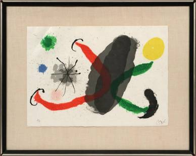 JOAN MIRO LITHOGRAPH IN COLORS, ON JAPAN PAPER 1967 H