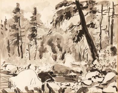 WALT KUHN (AMERICAN, 1877–1949) WASH, WATERCOLOR AND