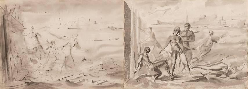 REGINALD MARSH (AMERICAN, 1898–1954) BLACK INK AND GRAY