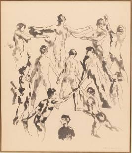 ARTHUR B DAVIES, (AMERICAN, 1862–1928) LITHOGRAPH WITH
