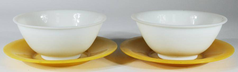 CHINESE YELLOW AND WHITE GLASS BOWLS AND TRAYS QING