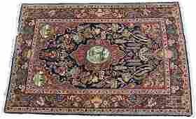 ANTIQUE PERSIAN KASHAN WOOL RUG C 1930 W 4 5 L 6