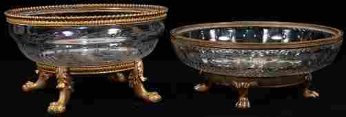 "GILT BRONZE MOUNTED CRYSTAL BOWLS, 2 PCS, DIA 8.5""-9"""