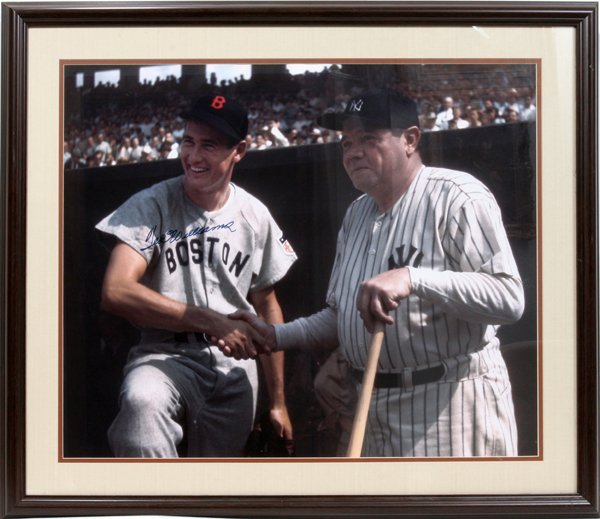 """050017: TED WILLIAMS AUTOGRAPHED COLOR PHOTO, H 19"""""""