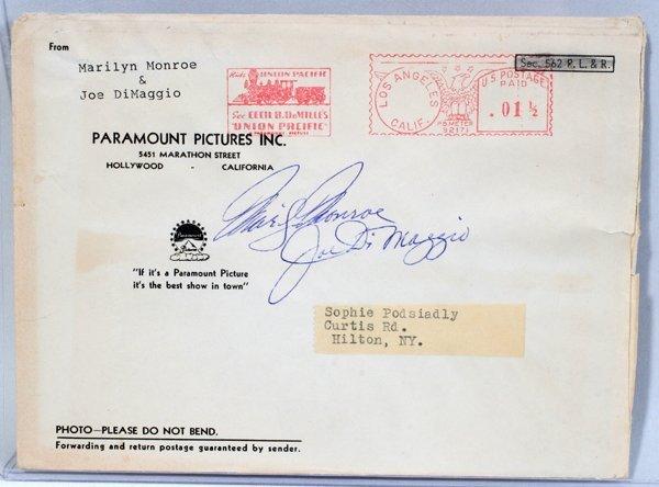 050018: JOE DIMAGGIO & MARILYN MONROE SIGNED ENVELOPE