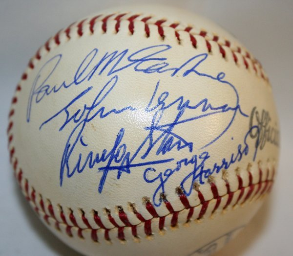 050042: BEATLES AUTOGRAPHED BASEBALL SIGNED IN BLUE INK