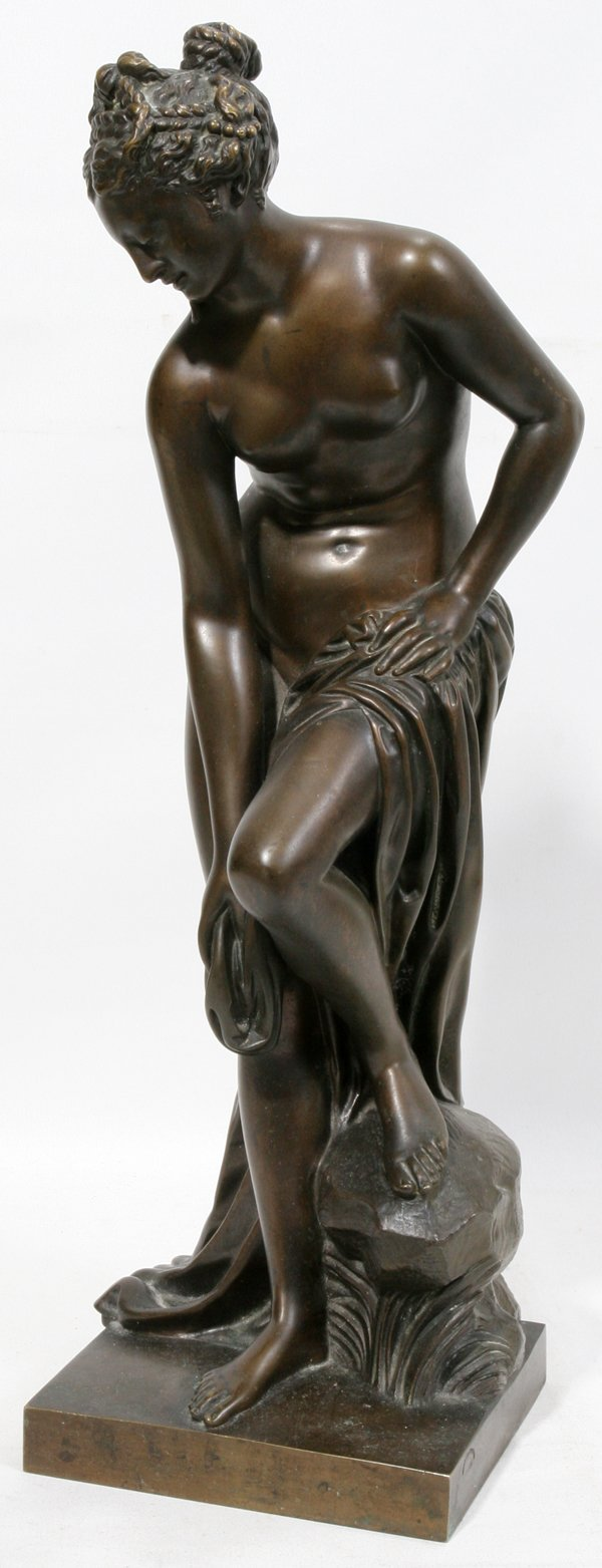 "051013: FRENCH BRONZE SCULPTURE C. 1890 H 16"" BATHER"