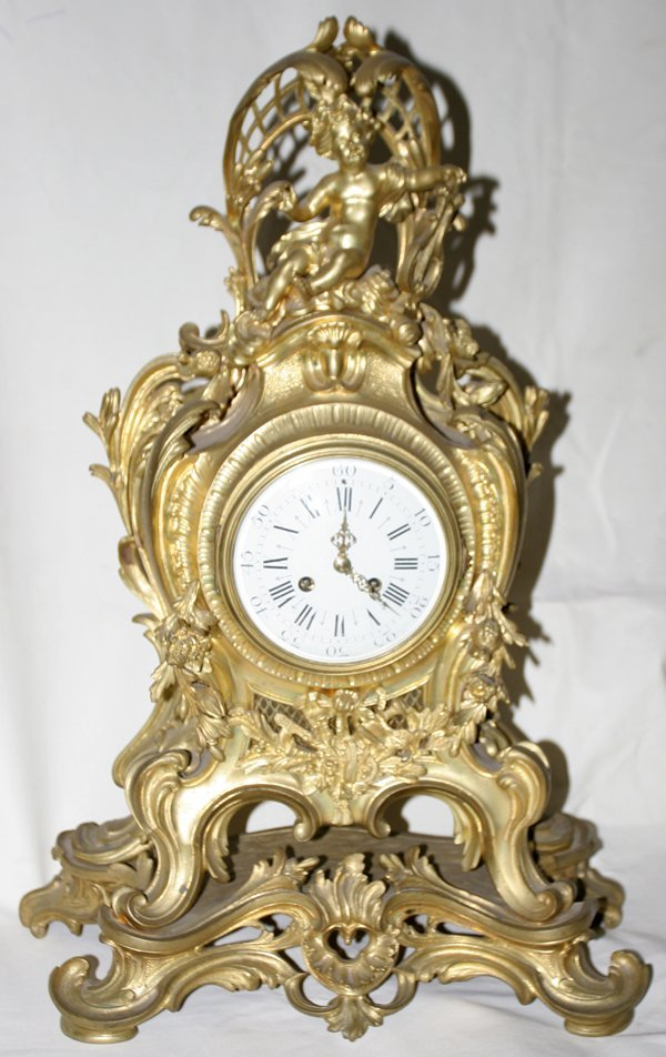 "051018: FRENCH BRONZE D'ORE CLOCK, 19TH C., H 25"" W 18"""