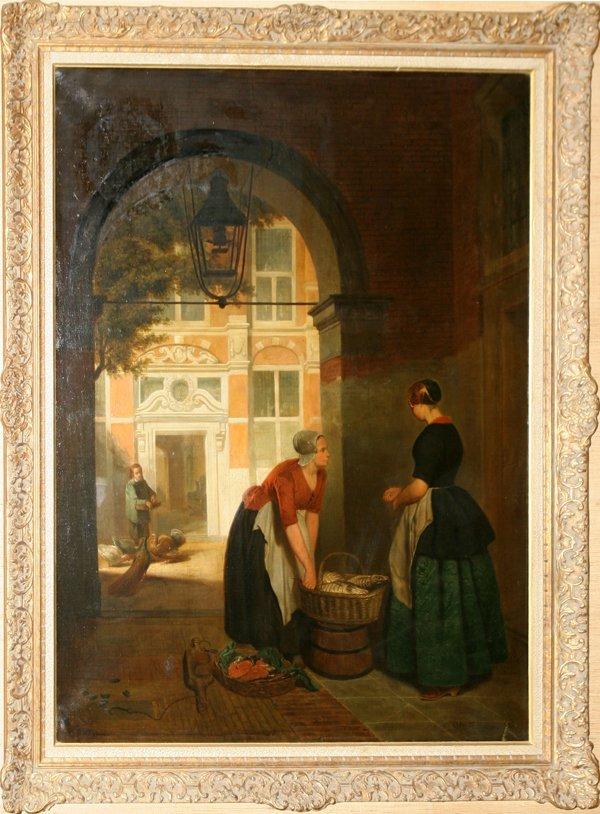 052002: HUBERTUS VAN HOVE OIL/CANVAS, DUTCH, TWO WOMEN
