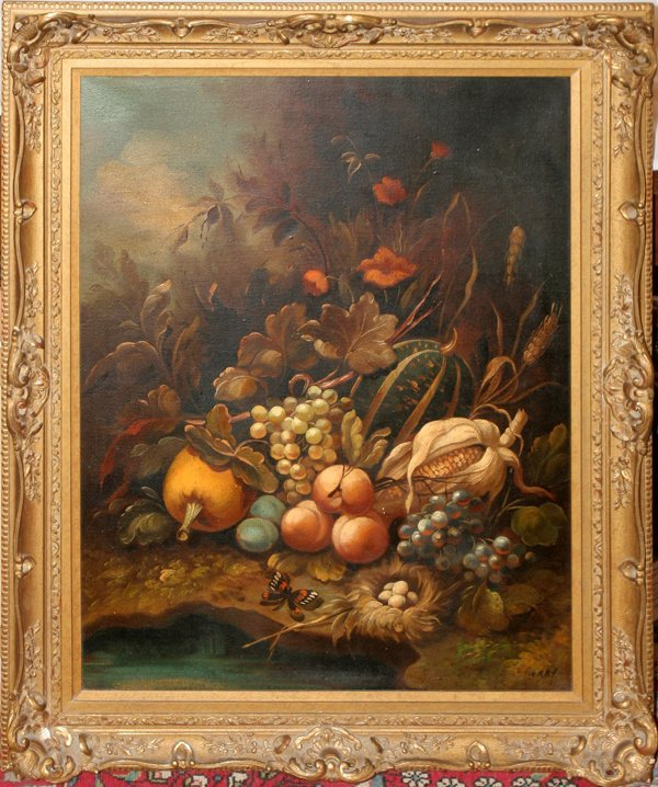 052010: PIERRY OIL/CANVAS, STILL LIFE, 20TH C.,