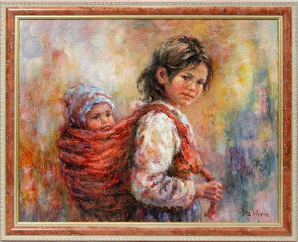 052015: LISETTE DE WINNE OIL/CANVAS YOUNG GIRL & CHILD