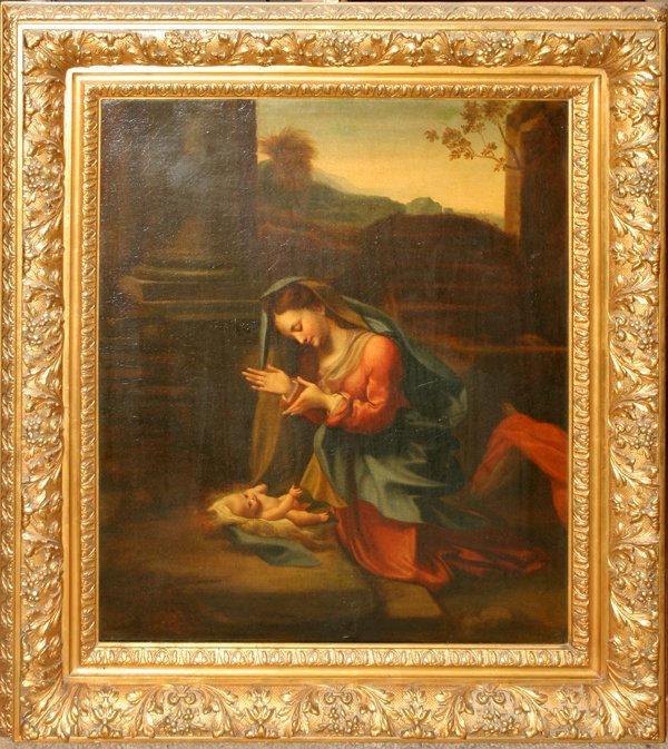 052018: AFTER CORREGGIO OIL/CANVAS THE ADORATION OF THE