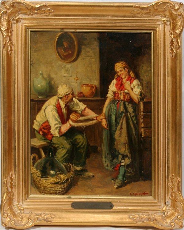 "052022: E CALIFANO OIL/CANVAS, C. 1910, ""THE JOLLIERS"""