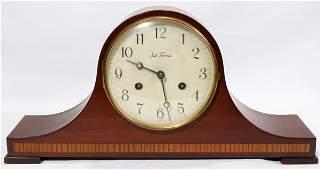 "052461: SETH THOMAS MAHOGANY MANTEL CLOCK, H 8"", W 17"""