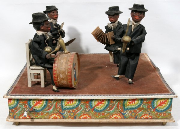 "060001: FOUR PIECE BAND, AUTOMATON C1920, W 18"", H 12"""