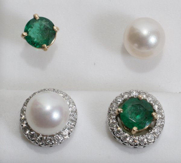 060004: COLOMBIAN EMERALD STUDS & JAPANESE PEARLS, 4