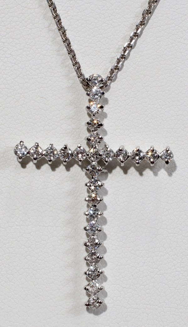 "060008: 1.10 CT DIAMOND CROSS NECKLACE, W 1"", L 1 1/2"""