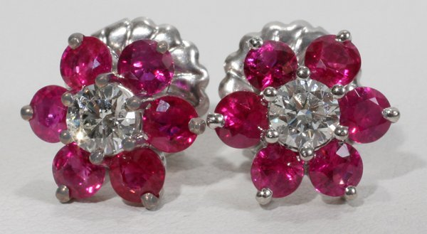 060010: 2 CT. RUBY & .55 CT. DIAMOND EARRINGS, D 1/2''