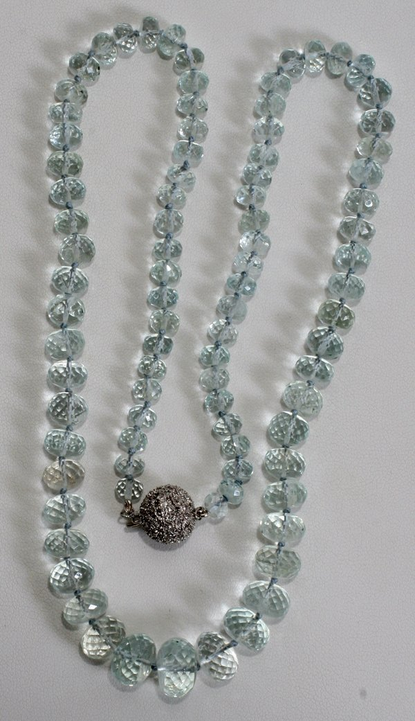 060011: 275 CT. ROSE CUT AQUAMARINE BEADED NECKLACE