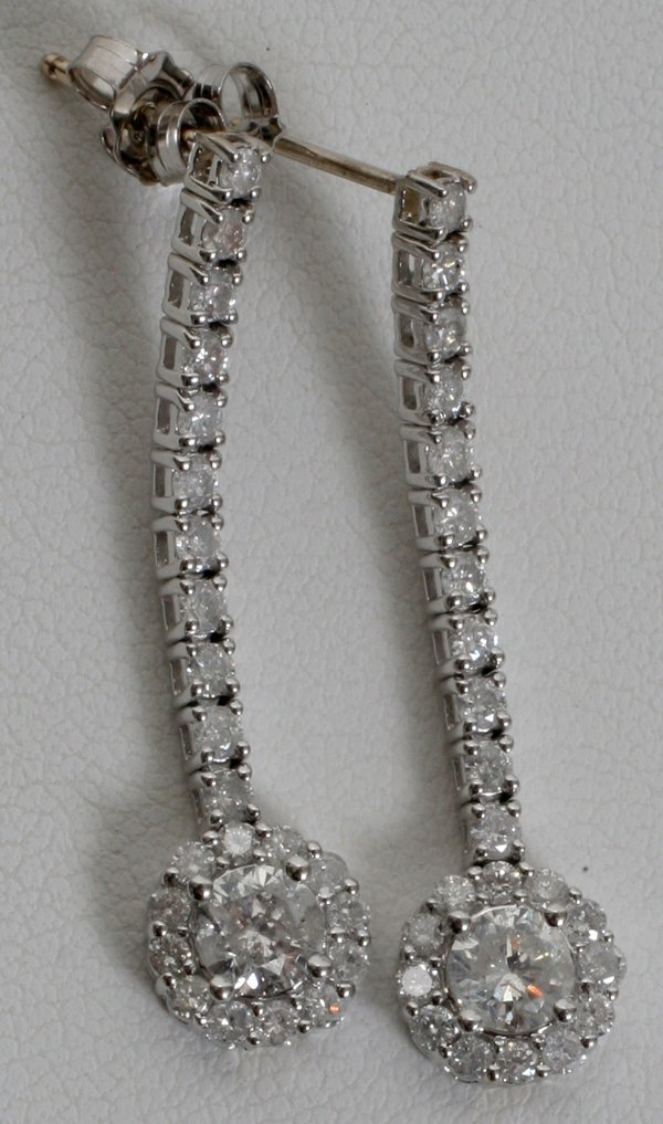 060023: 14KT WHITE GOLD & DIAMOND DROP EARRINGS