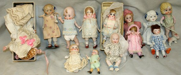 "060216: MINIATURE BISQUE HEAD DOLLS, 12 PCS., H 3""-6"""