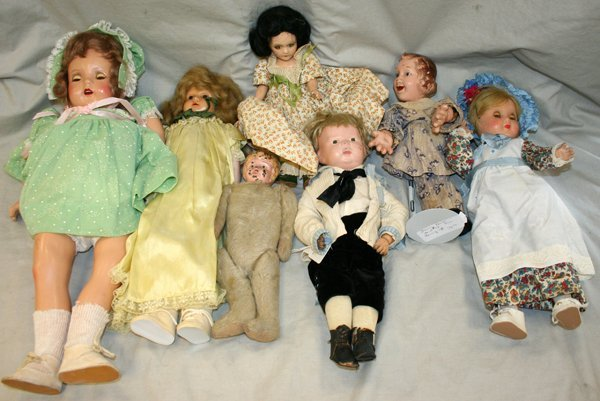060217: FANNY BRICE, TIN HEAD, ETC DOLLS, 7 PCS.