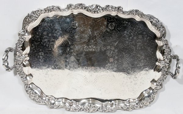 061008: SHEFFIELD PLATE HAND CHASED TRAY, ANTIQUE W 20""