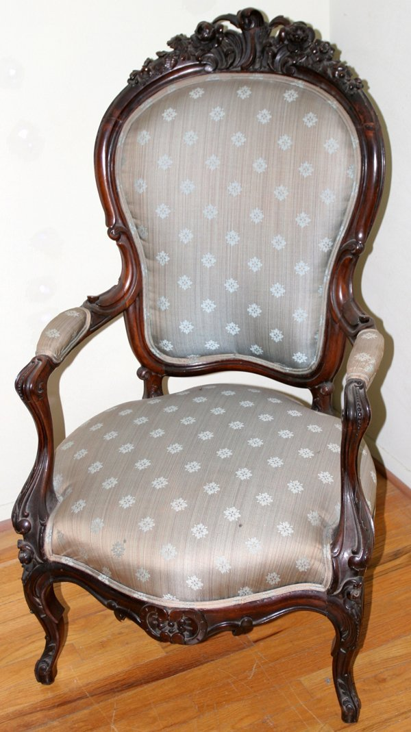 061016: VICTORIAN ROSEWOOD ARMCHAIR, BELTER INFLUENCE