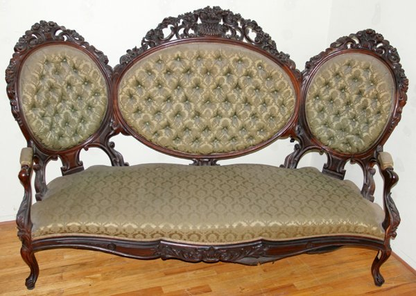 061021: ATTRIBUTED TO BELTER ROSEWOOD SETTEE, C. 1850