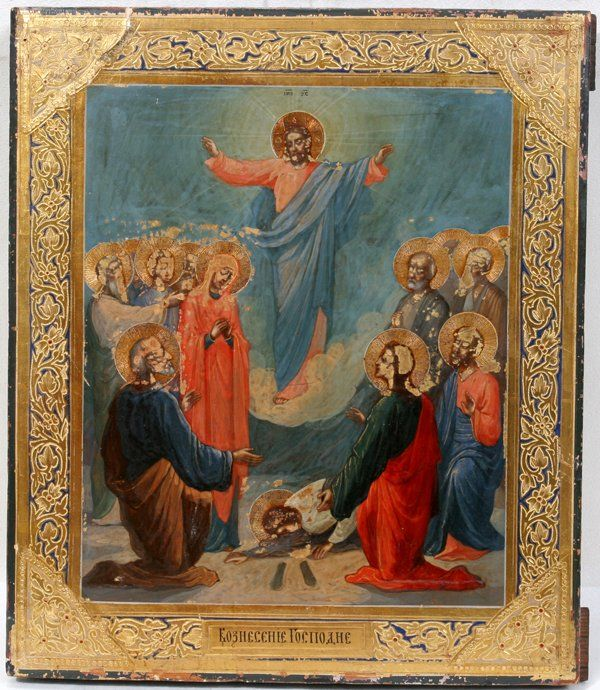 062339: RUSSIAN WOOD PANEL ICON, 'THE RESURRECTION'