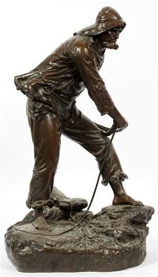 EDOUARD LORMIER (FRENCH, 1847–1919) BRONZE FISHERMAN,