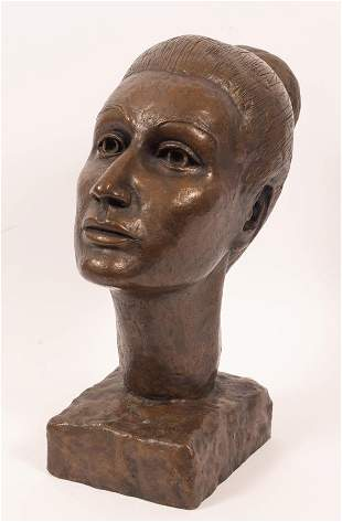 """BRONZE BUST, 20TH C, H 14"""", W 6.5"""", YOUNG WOMAN"""