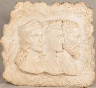 """ITALIAN CARVED MARBLE WALL SCULPTURE, 19TH.C. H 21.5"""","""