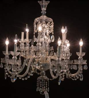 LOUIS XV STYLE TWO TIER 12 LIGHT CRYSTAL CHANDELIER,