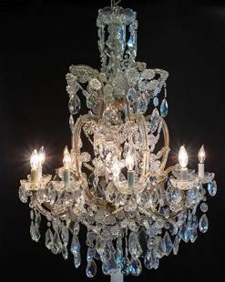 MARIA TERESA CRYSTAL ELEVEN LIGHT CHANDELIER, H 37'', W