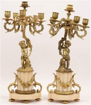 FRENCH BRONZE DORE AND MARBLE CANDELABRAS 19TH.C. PAIR