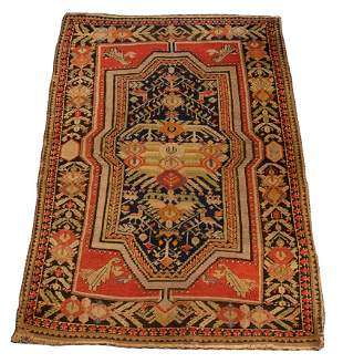 "ANTIQUE ANATOLIAN HAND WOVEN WOOL RUG H 5'3"" W 3'10"""