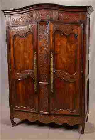 18TH C. COUNTRY FRENCH WALNUT ARMOIRE, H 7
