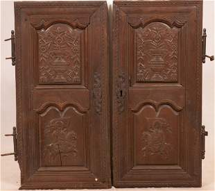 EUROPEAN CARVED WALNUT DOORS, MATCHED PAIR, 18TH.C. H
