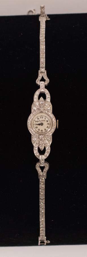 ELGIN PLATINUM & DIAMOND LADY'S WRIST WATCH, C. 1940, W