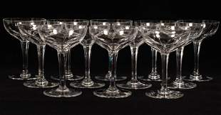 """BACCARAT FRENCH """"GENOVA"""" CRYSTAL CHAMPAGNES, SET OF 12,"""