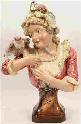 MAJOLICA CERAMIC BUST, YOUNG GIRL WITH BIRD ON SHOULDER