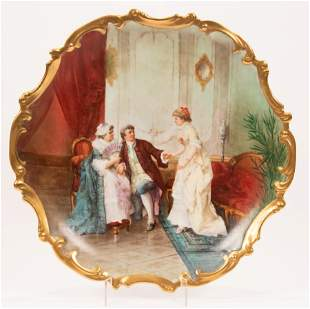 """MUVILLE, FRENCH PORCELAIN CHARGER, C 1900, DIA 16"""""""