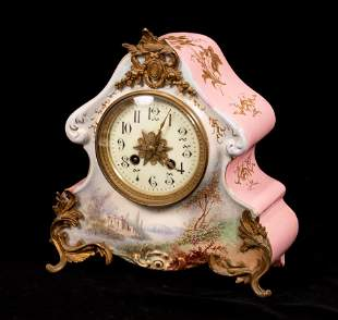 JAPY FRERES, FRENCH PORCELAIN & BRONZE MANTEL CLOCK, C