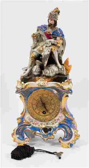 LENZKIRCH (GERMAN) PORCELAIN FIGURAL MANTEL CLOCK, H