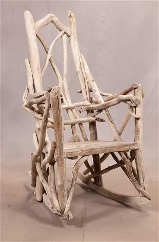 """BEN FORGEY, ROCKING CHAIR, WOOD AND BRANCHES H 56"""" W"""