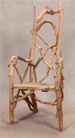 """BEN FORGEY, CHAIR, REPURPOSED WOOD & BRANCHES H 53"""" W"""