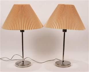 "NESSEN STUDIOS, CHROME TABLE LAMPS, PAIR H 22"""
